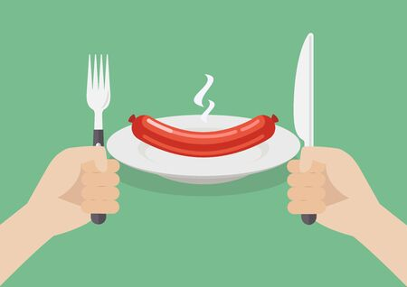 Knife and fork cutlery in hands with sausage. Vector illustration