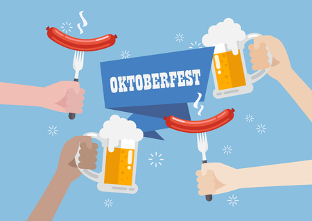 Oktoberfest with a glass of beer and sausage. Greeting card Illustration
