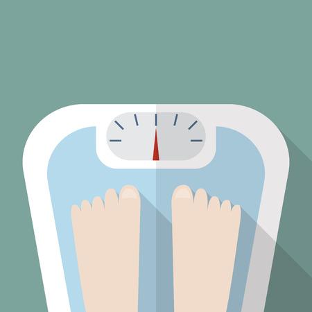 Bare feet on weight scale. Vector illustration Illustration