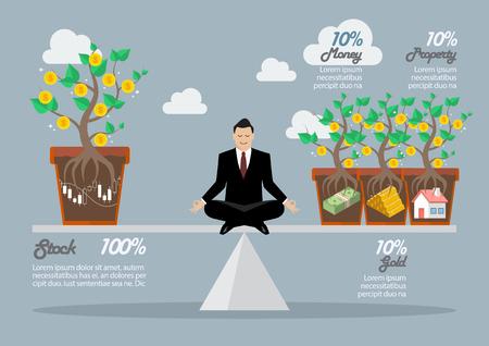 allocation: Rebalancing portfolio asset allocation. Business concept