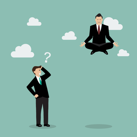 meditating: Businessman meditating over his competitor. Business concept
