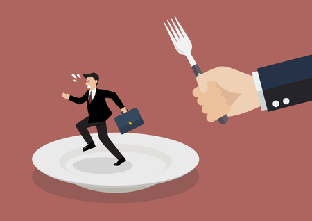 Businessman run away from big hungry man. Business concept Illustration