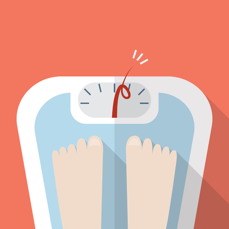 Overweight bare feet on weight scale. Vector illustration Illustration