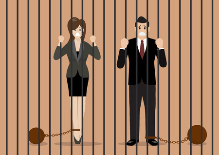 detain: Business people with weights in prison. Business concept Illustration