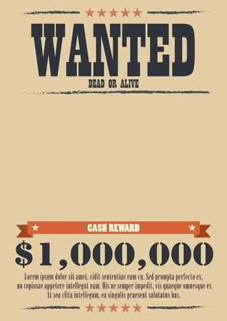 Wanted Vintage Poster. western style vector illustration Illustration