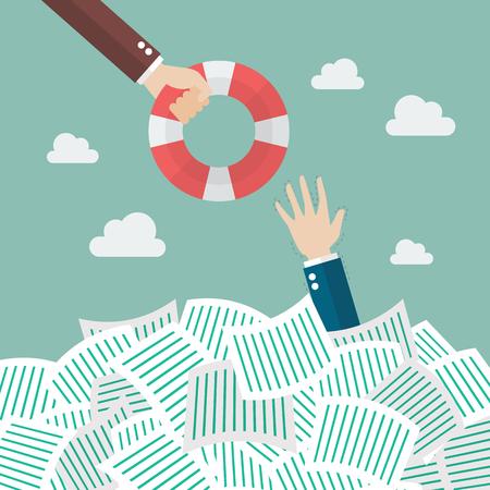 Ahogamiento de negocios ponerse salvavidas. el exceso de concepto Ilustración de vector