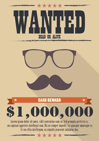 La tumba de hombre con bigote y gafas cartel. ilustración vectorial de estilo occidental