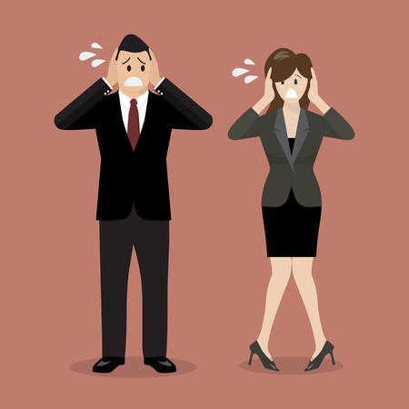 Stressed business man and woman. vector illustration Illustration