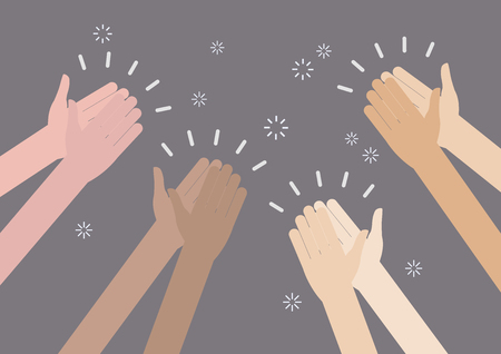 acclaim: Human hands clapping ovation. vector illustration