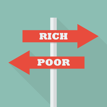 poor: Street sign with words Rich and Poor. vector illustration