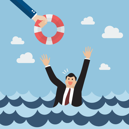worried: Drowning businessman screaming for help. Business concept