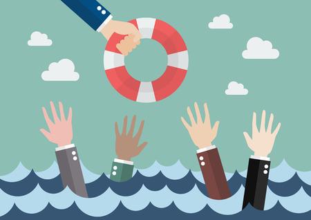 Hommes d'affaires Drowning obtenir une seule bouée de sauvetage d'autres affaires Banque d'images - 65841722