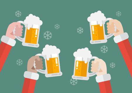 Santa clinking beer glasses. Christmas party celebration