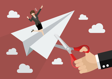 Big businessman hand cutting rival paper rocket. Business concept Illustration