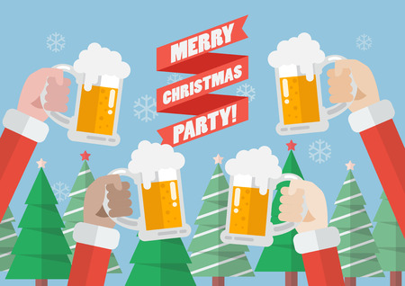 Merry christmas party. Santa clinking beer glasses Illustration