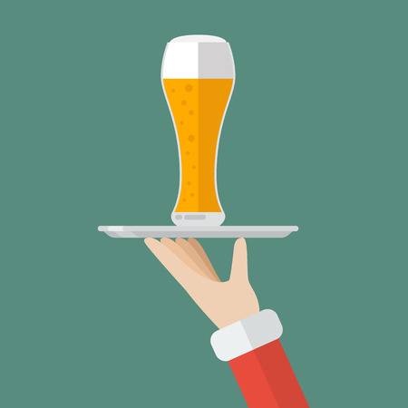 christmas drink: Santa Claus serving a glass of beer. Flat style design  illustration Illustration