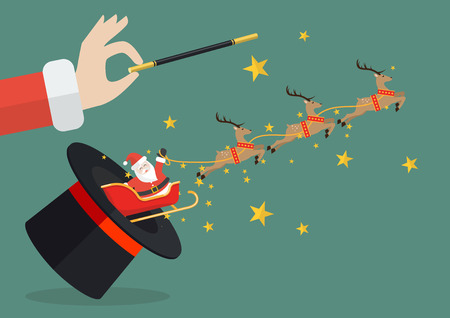 Santa claus with reindeer sleigh flying out of the magic hat. Vector illustration Illustration