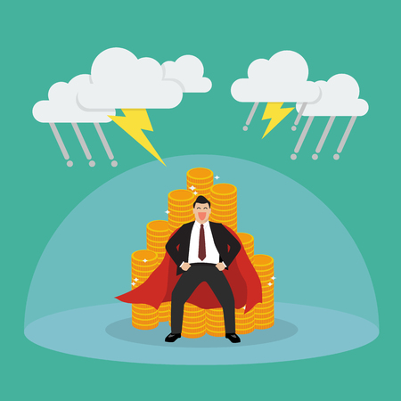 Superman with barrier protecting her money from thunderstorm. Vector Illustration Illustration
