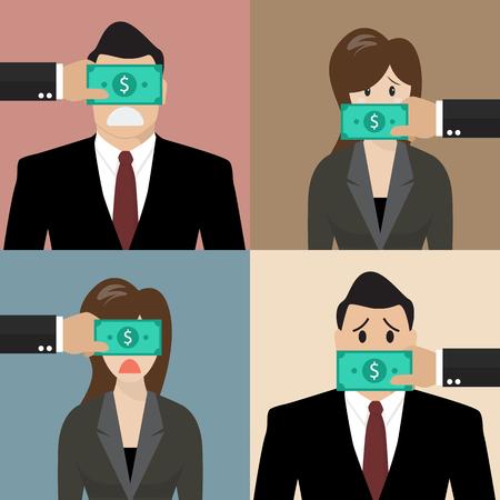 Conjunto de concepto de soborno. La gente de negocios con billetes de dólares pegadas a los ojos y la boca Ilustración de vector