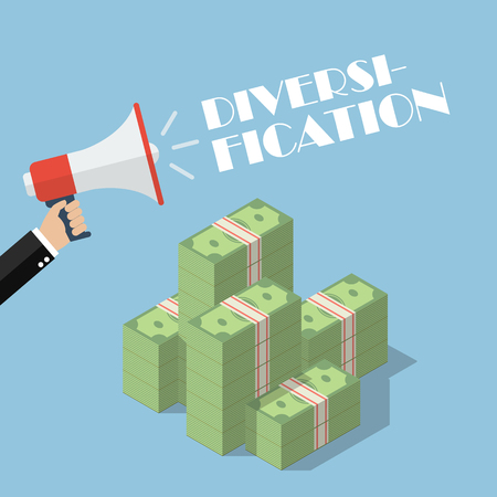 Hand holding megaphone with word diversification on top of cash money. diversification business concept