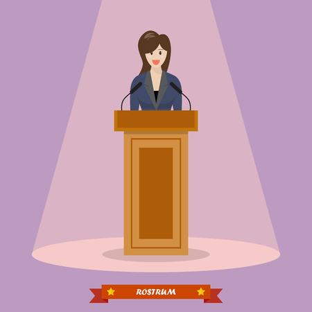 Politician woman standing behind rostrum and giving a speech. Vector illustration Illustration