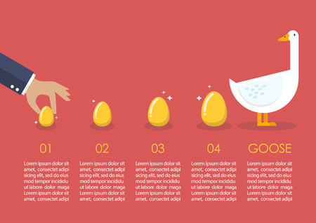 golden egg: Businessman with goose and golden egg infographic. Business concept
