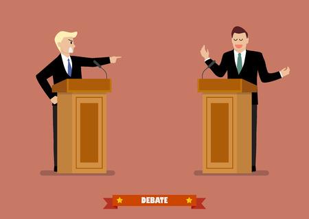 Presidential candidate speaks to people from tribune. Presidential debate