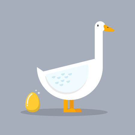 passive earnings: White goose and golden egg. Business concept
