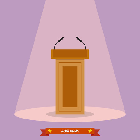 tribune: Wooden podium tribune rostrum stand with microphones. Vector illustration