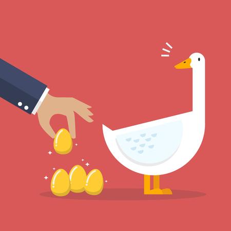 ganancias: Hombre de negocios con el ganso blanco y huevo de oro. Concepto de negocio Vectores