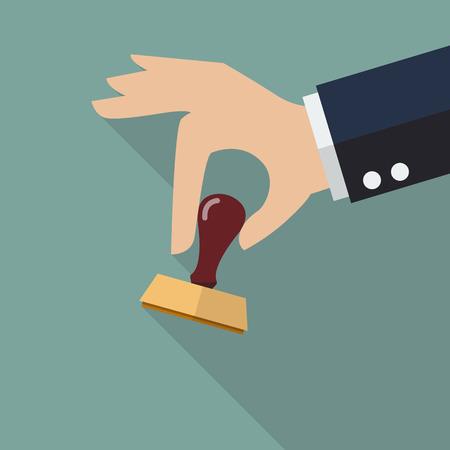 qualify: Business hand holding stamp. Vector illustration