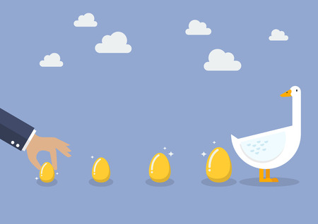 Businessman with goose and golden egg. Business concept