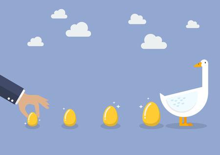 Geschäftsmann mit Gans und goldenen Ei. Geschäftskonzept Standard-Bild - 66883127