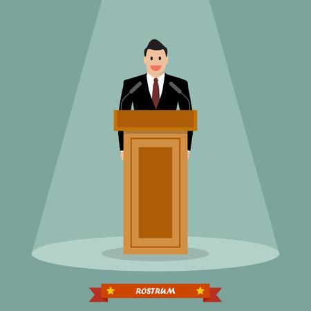rostrum: Politician man standing behind rostrum and giving a speech. Vector illustration