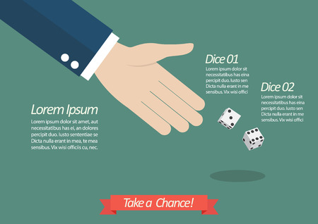 throwing: Take a chance infographic. Businessman throwing dice Illustration