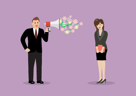 Homme d'affaires flirt avec une femme au travail. Vector illustration
