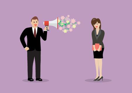 ligar hombre de negocios con una mujer en el trabajo. ilustración vectorial