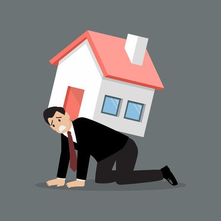 絶望的なビジネスマンは、重の家を運ぶ。ビジネス コンセプト
