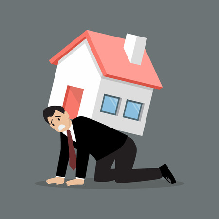 절망적 인 사업가 무거운 집을 수행. 비즈니스 개념