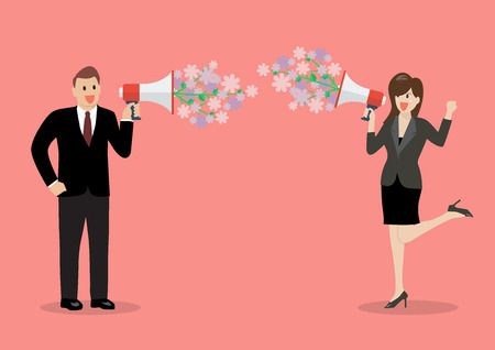 mega phone: Businessman and woman are holding a megaphone with flowers. flirt concept Illustration