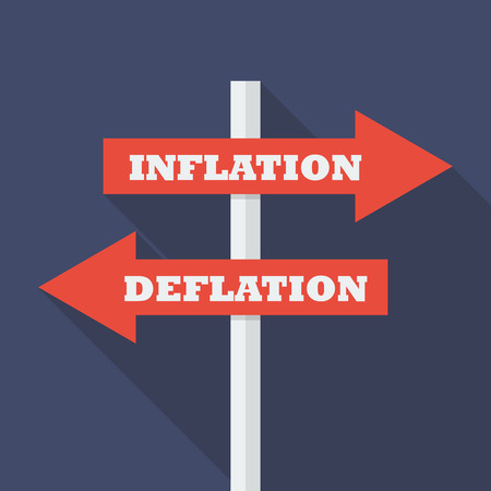 Street sign with arrows pointing two opposite directions towards inflation and deflation. vector illustration