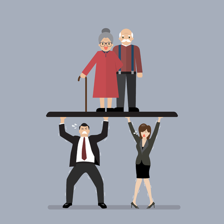 Workers carry Pensioners. Aging population problem Illustration