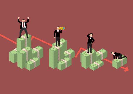 economic activity: Decreasing cash money with businessmen in various activity. Economic concept