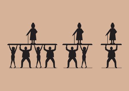 Verhouding van de werkenden aan gepensioneerden in silhouet. Vergrijzing van de bevolking probleem