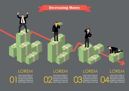 economic activity: Decreasing cash money with businessmen in various activity infographic. Economic concept