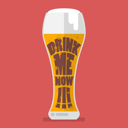 drink me: Glass of beer drink me now. Flat style vector illustration