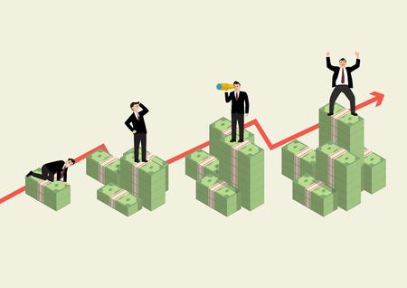 economic activity: Increasing cash money with businessman in various activity. Economic concept Illustration