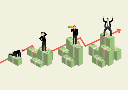 Increasing cash money with businessman in various activity. Economic concept Illustration
