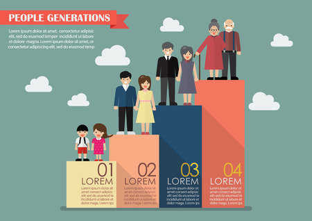 economic growth: People generations bar graph. Vector illustration Illustration
