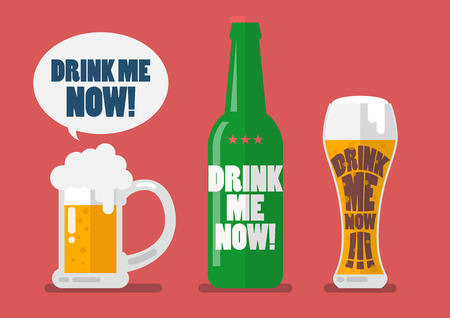 Set of beer drink me now. Flat style vector illustration
